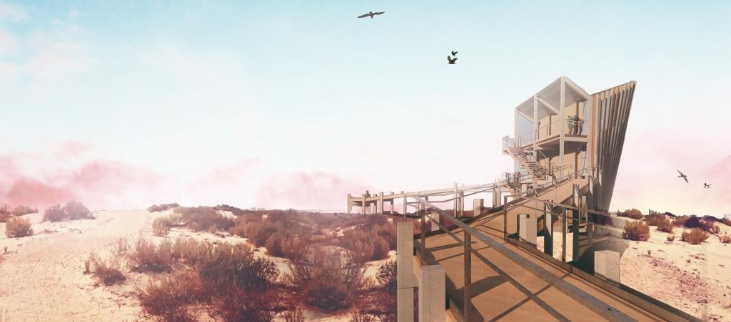 Visión trasera del proyecto Pointer del concurso Flamingo del Flamingo TowerCompetitión de Abu Dhabi por Beebreders