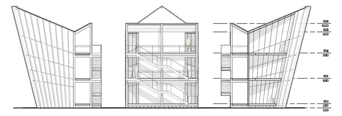 Alzado izquierdo, trasero y derecho del proyecto.